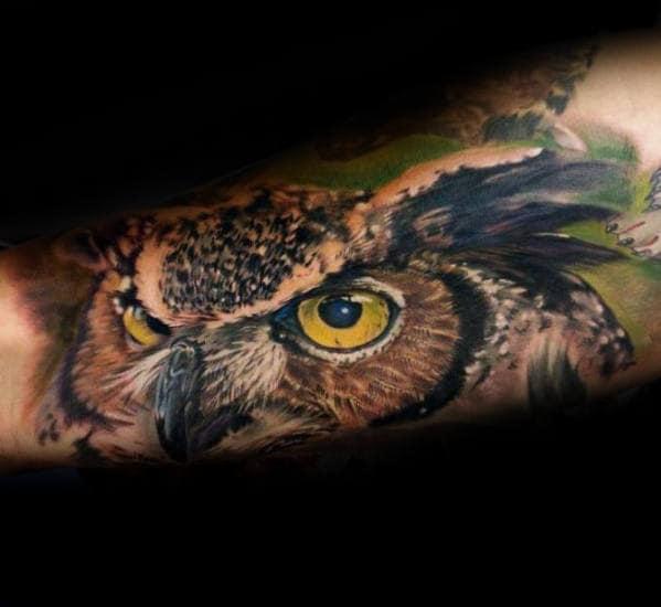 Owl Head Guys Realistic Inner Arm Tattoo Ideas