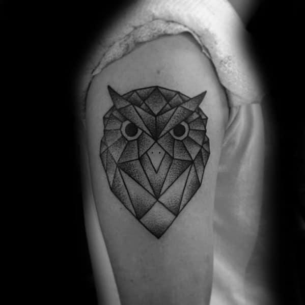 Owl Head Male Upper Arm Shaded Geometric Tattoo Inspiration