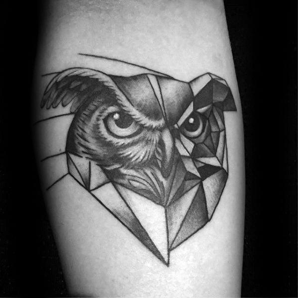 Owl Head With Geometric Body Mens Inner Forearm Tattoo