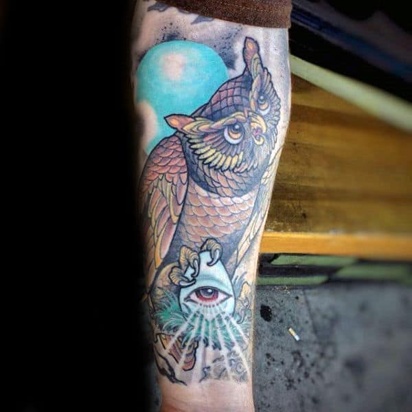 Owl Illuminati Awesome Forearm Male Tattoos