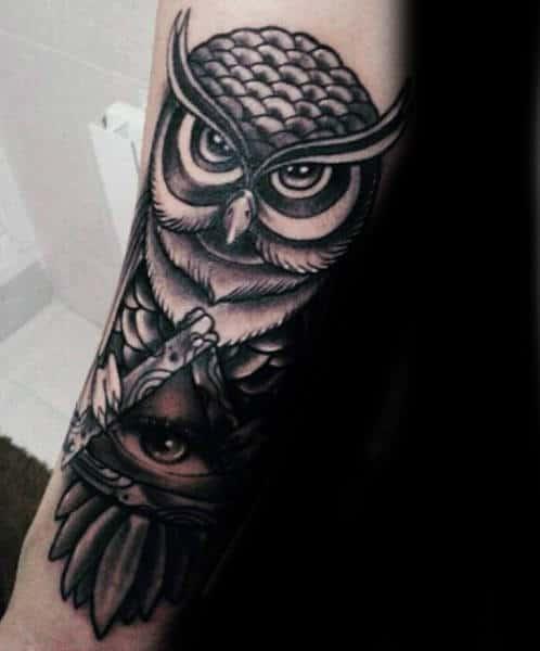 Owl Illuminati Tattoo Male Forearms