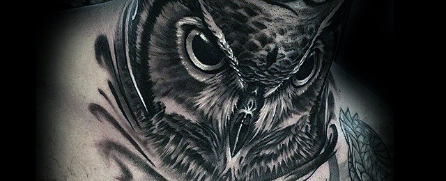 Owl Neck Tattoo Designs For Men
