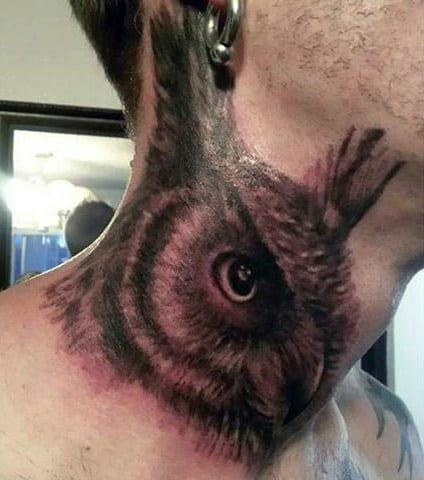 Owl Neck Tattoo For Guys