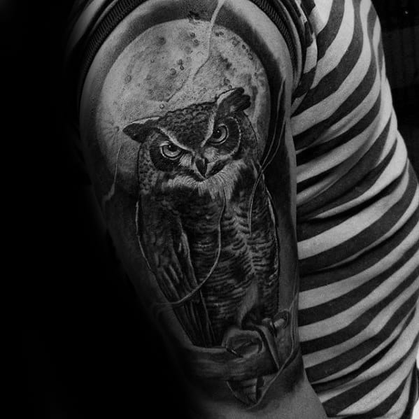 Owl On Tree Branch With Moon Mens Half Sleeve Tattoo