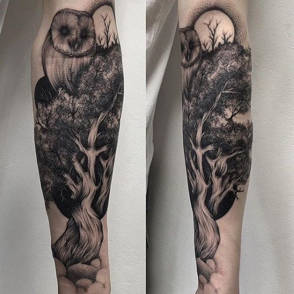 Owl Overlooking Forest Of Trees Male Forearm Tattoo
