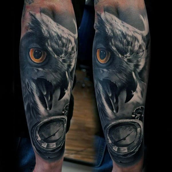 Owl Pocket Watch Forearm Sleeve Animal Tattoo On Man