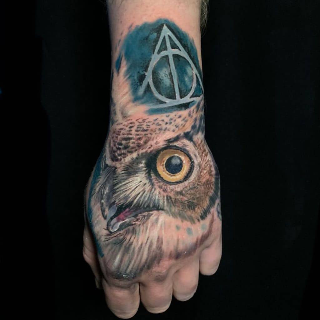 owl realistic ink deathly hallows tattoo
