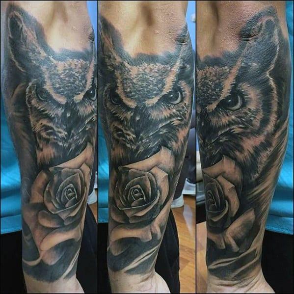 Owl Rose Flower Mens Forearm Tattoos