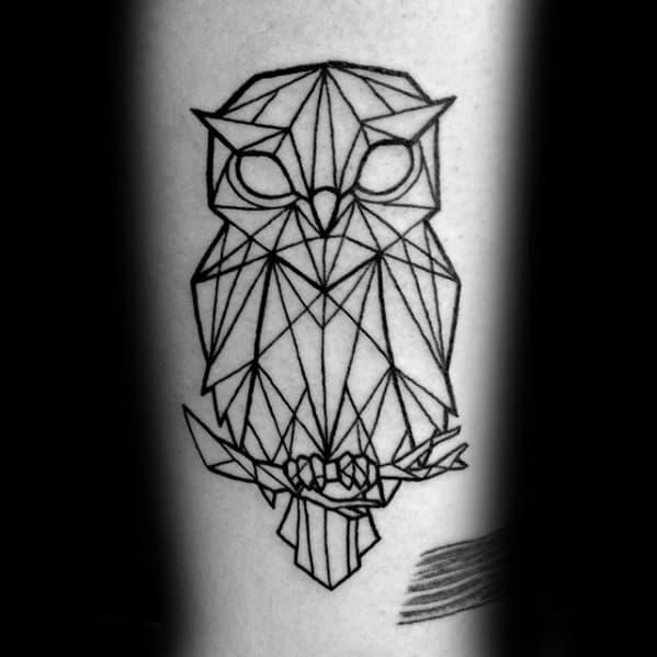 Owl Sitting On Tree Branch Guys Geometric Forearm Tattoo
