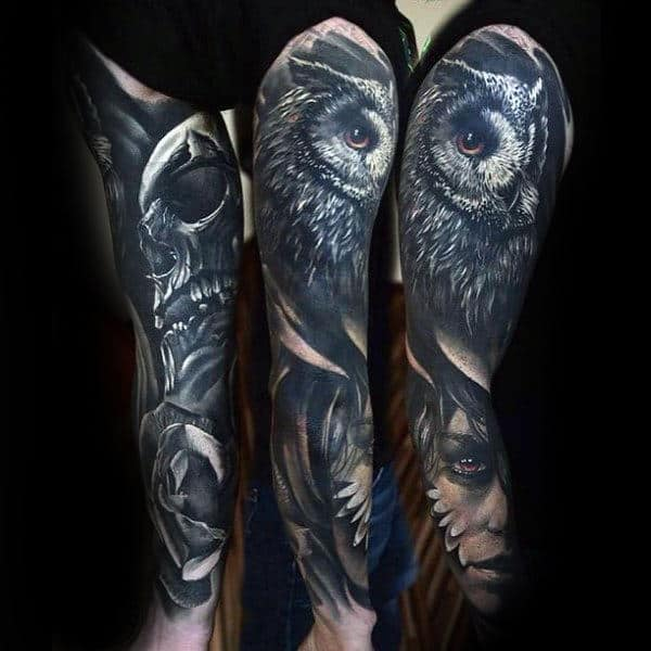 Owl Skull And Female Portrait Unique Sleeve Tattoo For Guys
