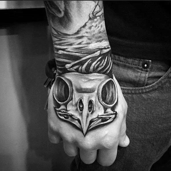Owl Skull Guys Tattoo Designs On Hand