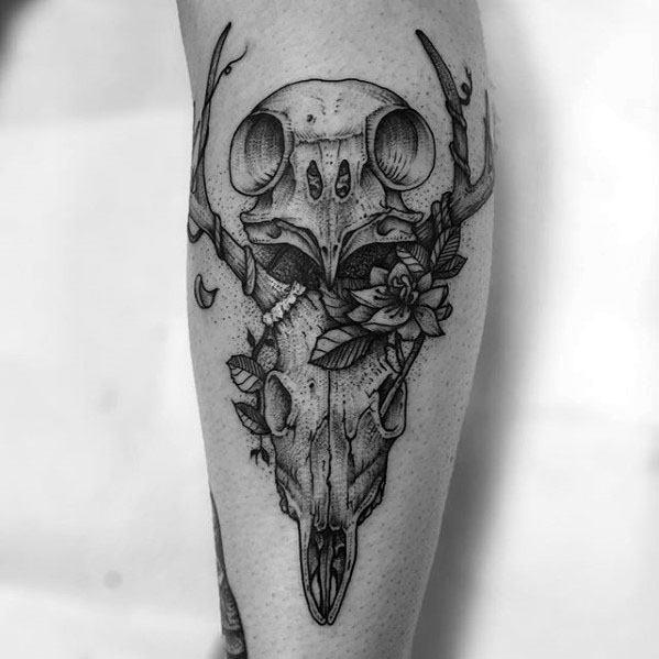 Owl Skull Male Tattoo Designs