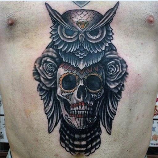 Owl Skull Male Tattoos On Chest