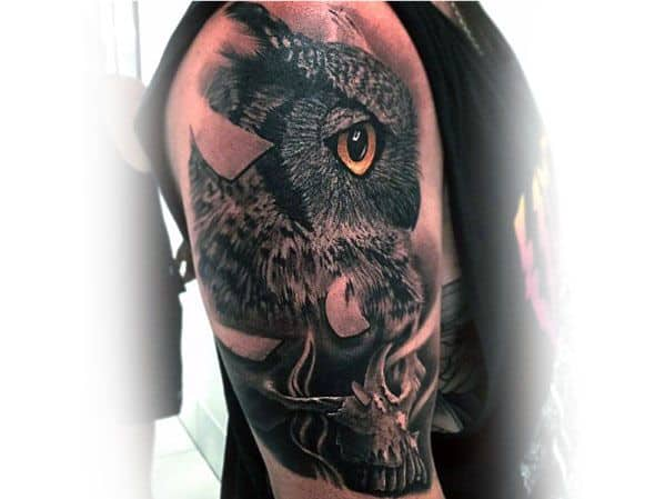 Owl Skull Mens Tattoo Designs On Arm