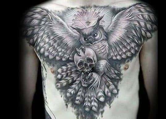 owl-skull-mens-tattoo-ideas-on-back