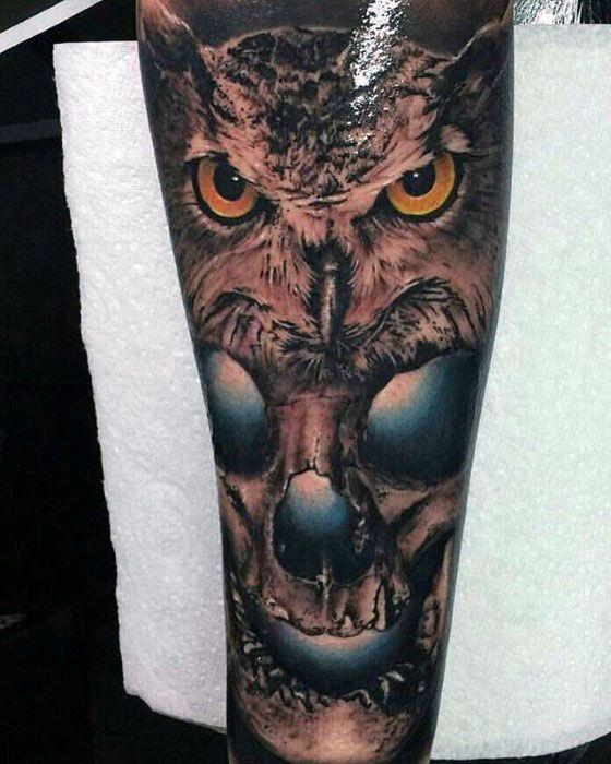 Owl Skull Tattoo Design Ideas For Males