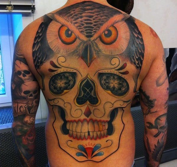 Owl Skull Tattoo Design On Mans Back