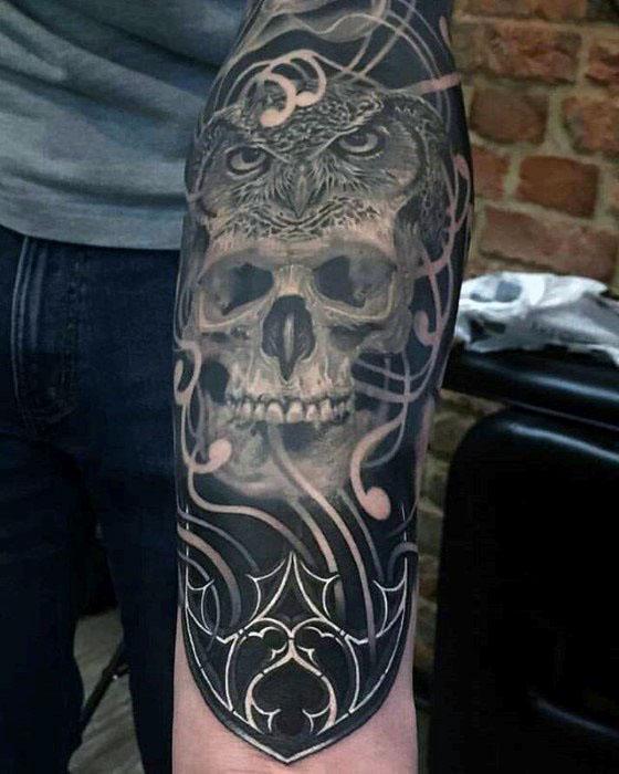 Owl Skull Tattoo Designs For Guys