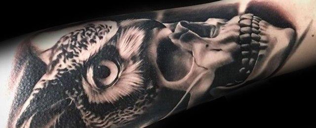 Owl Skull Tattoo Designs For Men
