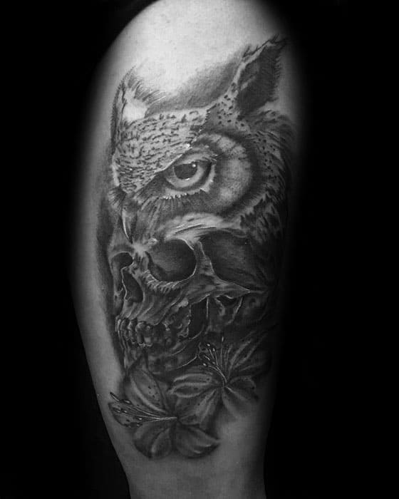 Owl Skull Tattoo Ideas For Males