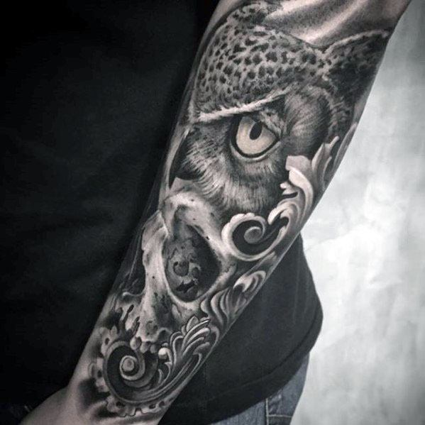 Owl Skull Tattoos Men