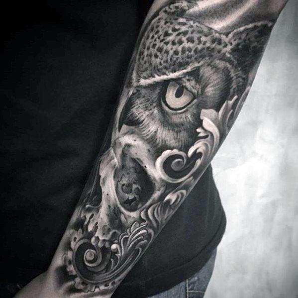 Owl Skull Tattoos Men