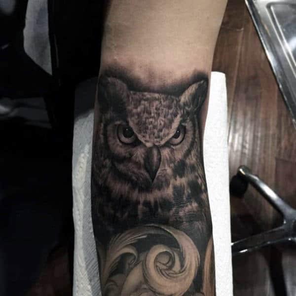 Owl Tattoo Designs For Men Inner Arm