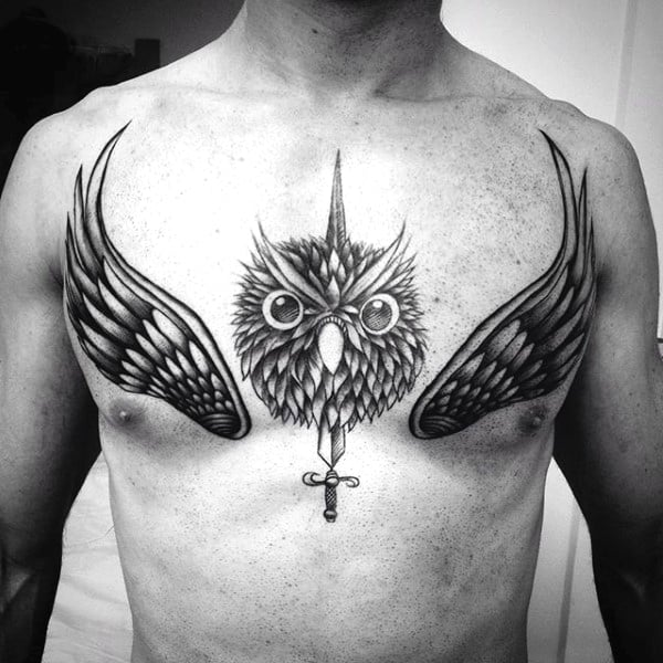 Owl Tattoo With Cross And Wings On Chest Men