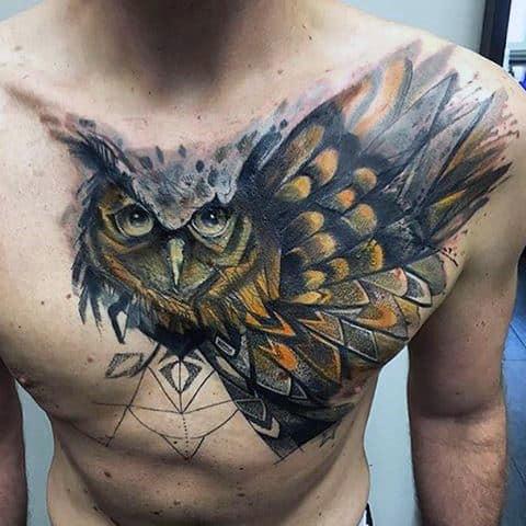 Owl Tattoos Flying For Men On Shoulder
