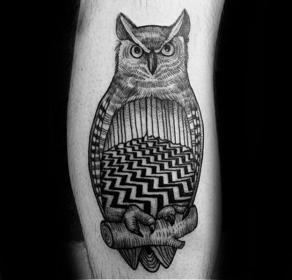 Owl Twin Peaks Guys Leg Tattoo