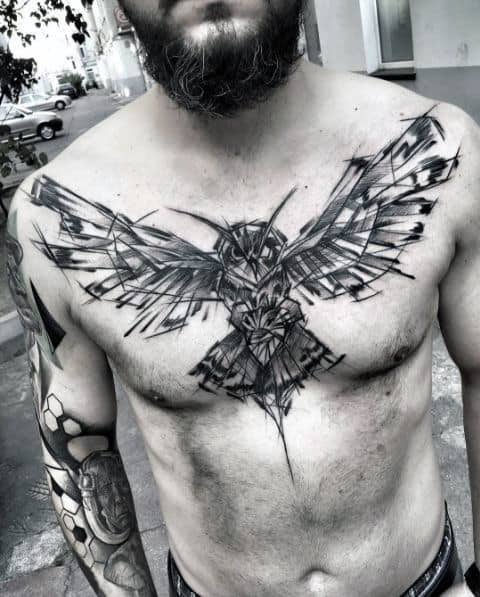 Owl Wings Guys Watercolor Tattoo Design On Chest