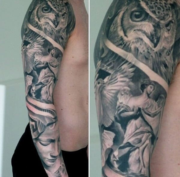 Owl With Angels Mens Detailed Full Sleeve Tattoo