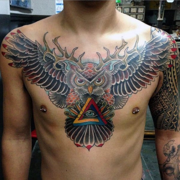 Owl With Antlers Mens Upper Chest Traditional Tattoo Design