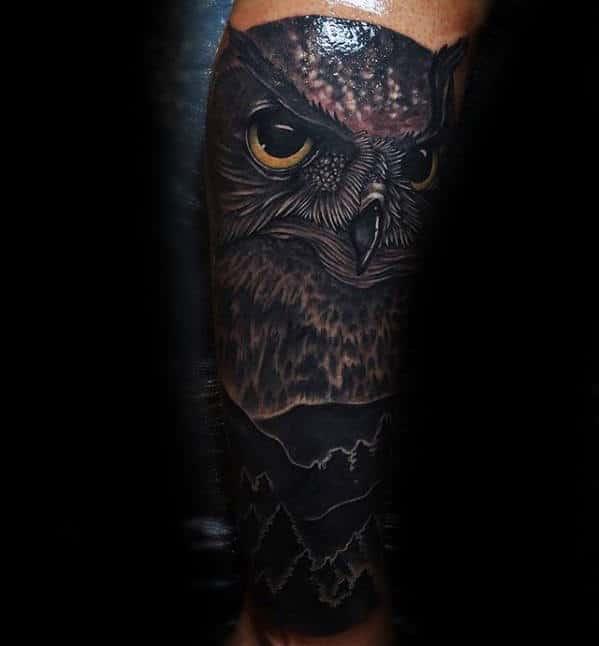 Owl With Blackwork Mountains Mens Forearm Sleeve Tattoo
