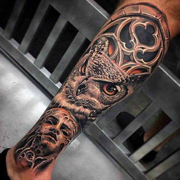 Owl With Church Window 3d Leg Tattoos For Men