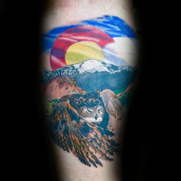 Owl With Colorado Flag Mens Inner Forearm Tattoos
