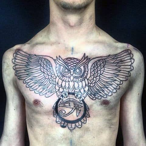 Owl With Eye Of Horus Old School Mens Chest Tattoos