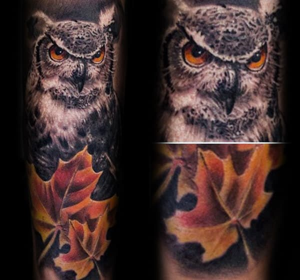 Owl With Fall Leaves Mens Forearm Sleeve Tattoos
