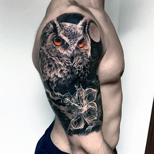 Owl With Flower Mens Half Sleeve Different Tattoo Ideas