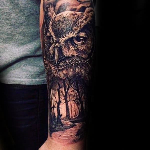 Owl With Forest Nature Scene Forearm Tattoos For Guys