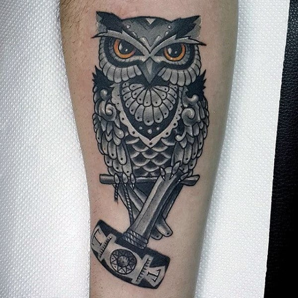 Owl With Hammer Mens Leg Tattoo