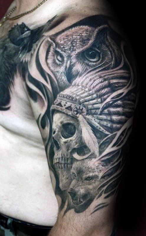 Owl With Indian Skull Male Half Sleeve Tattoo