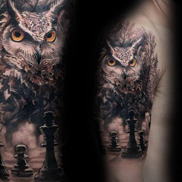 Owl With King Chess Piece Mens Cool Half Sleeve Tattoos