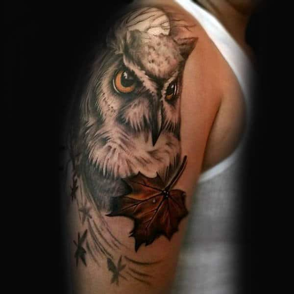Owl With Maple Leaf Mens Upper Arm Tattoo Designs