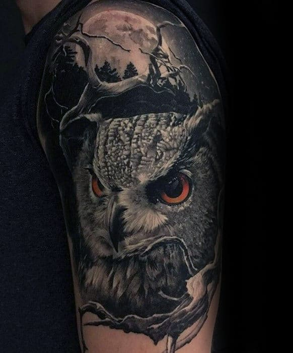 Owl With Moon Guys Half Sleeve Tattoos