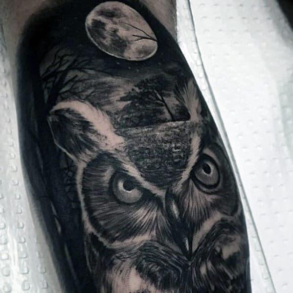 Owl With Moon Guys Realistic Leg Tattoo Esigns