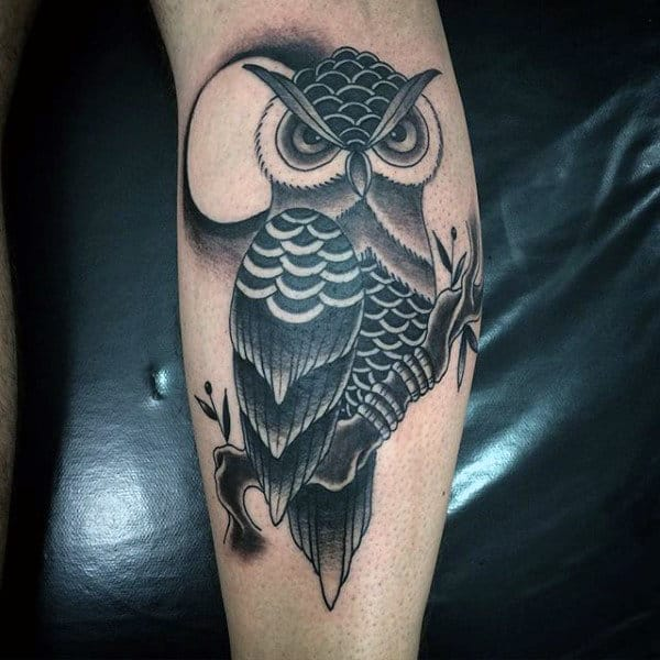 Owl With Moon On Branch Guys Traditional Leg Tattoos
