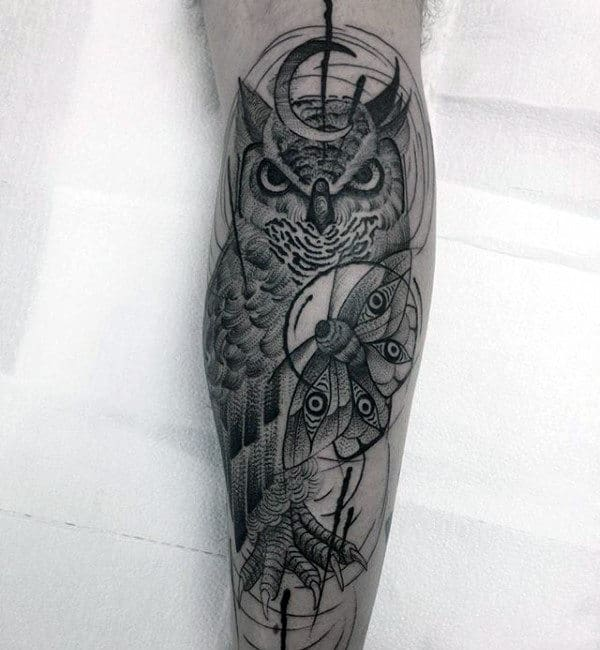 Owl With Moth And Moon Mens Leg Tattoo Designs