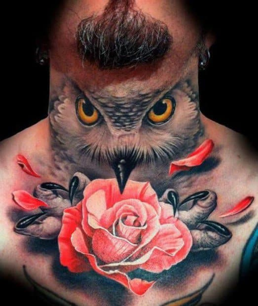 Owl With Rose Flower Realistic 3d Neck Mens Tattoo Designs