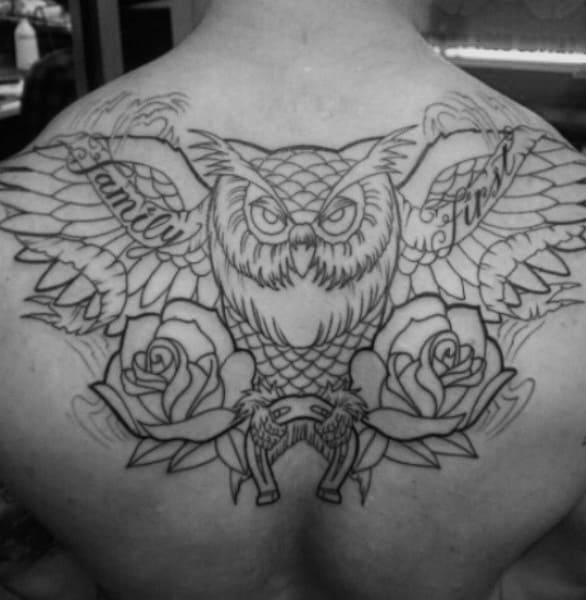 Owl With Roses And Horseshoe Mens Upper Back Tattoo
